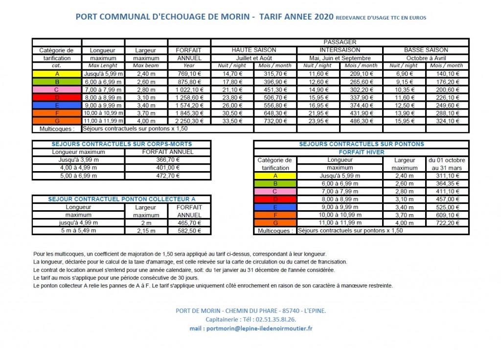 tarifs port 2020 - 1