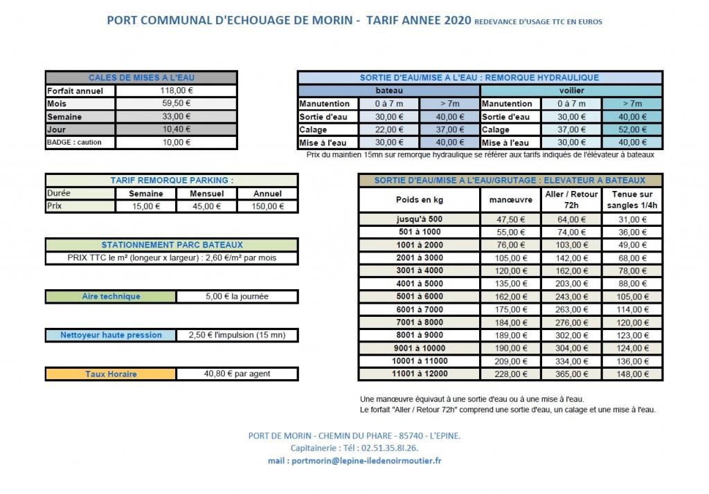 tarifs port 2020 - 2